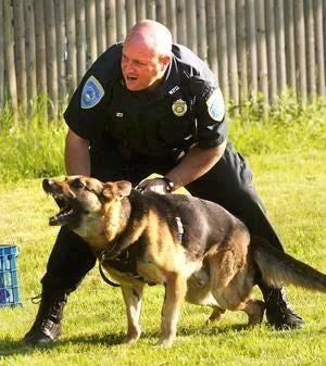 Retired Weymouth Police Officer Ed Hancock, is show here with his K9 dog Hax in 2016