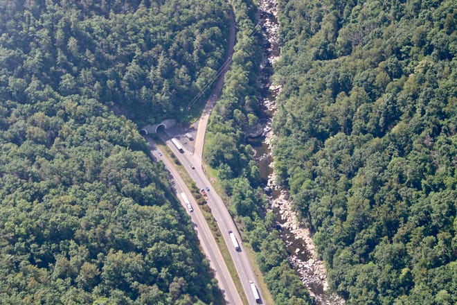 Aerial view of the Pigeon River Gorge, a dangerous 28-mile section of Interstate 40 between Asheville and Knoxville where more than 27,000 vehicles travel daily near Great Smoky Mountains National Park.