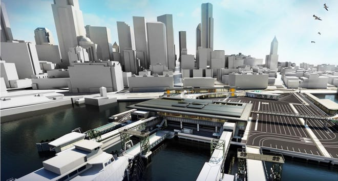 A conceptual design of the new Colman Dock ferry terminal, looking east from the water.