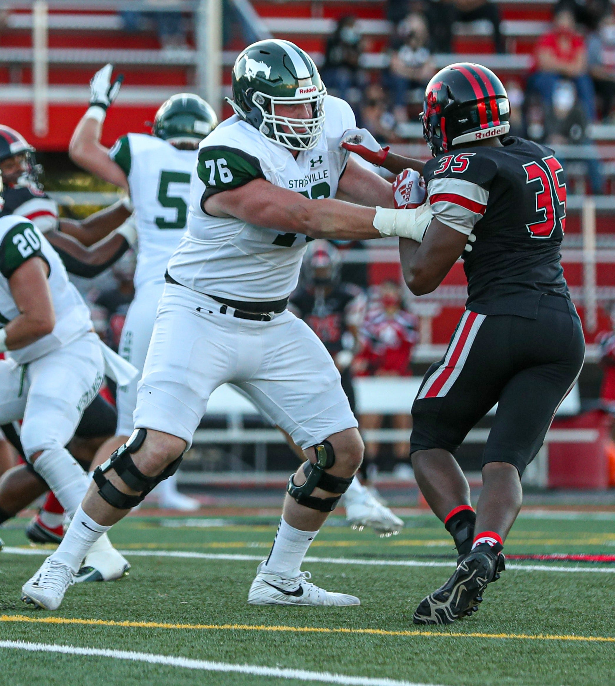 Strongsville's Blake Miller is one of the nation's top offensive tackles. He did not allow a sack in 2020 and is committed to Clemson.
