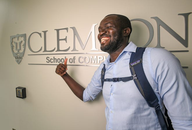 """Moses Namara, a PhD Candidate in the Human-Centered Computing program at Clemson University with a Facebook Computing Fellowship, on campus Thursday, July 7, 2021. """"I am honored to be one of this year's MIT Tech Review's 35 Under 35 Innovators for my work co-founding the BAI Academic Program,"""" he said."""