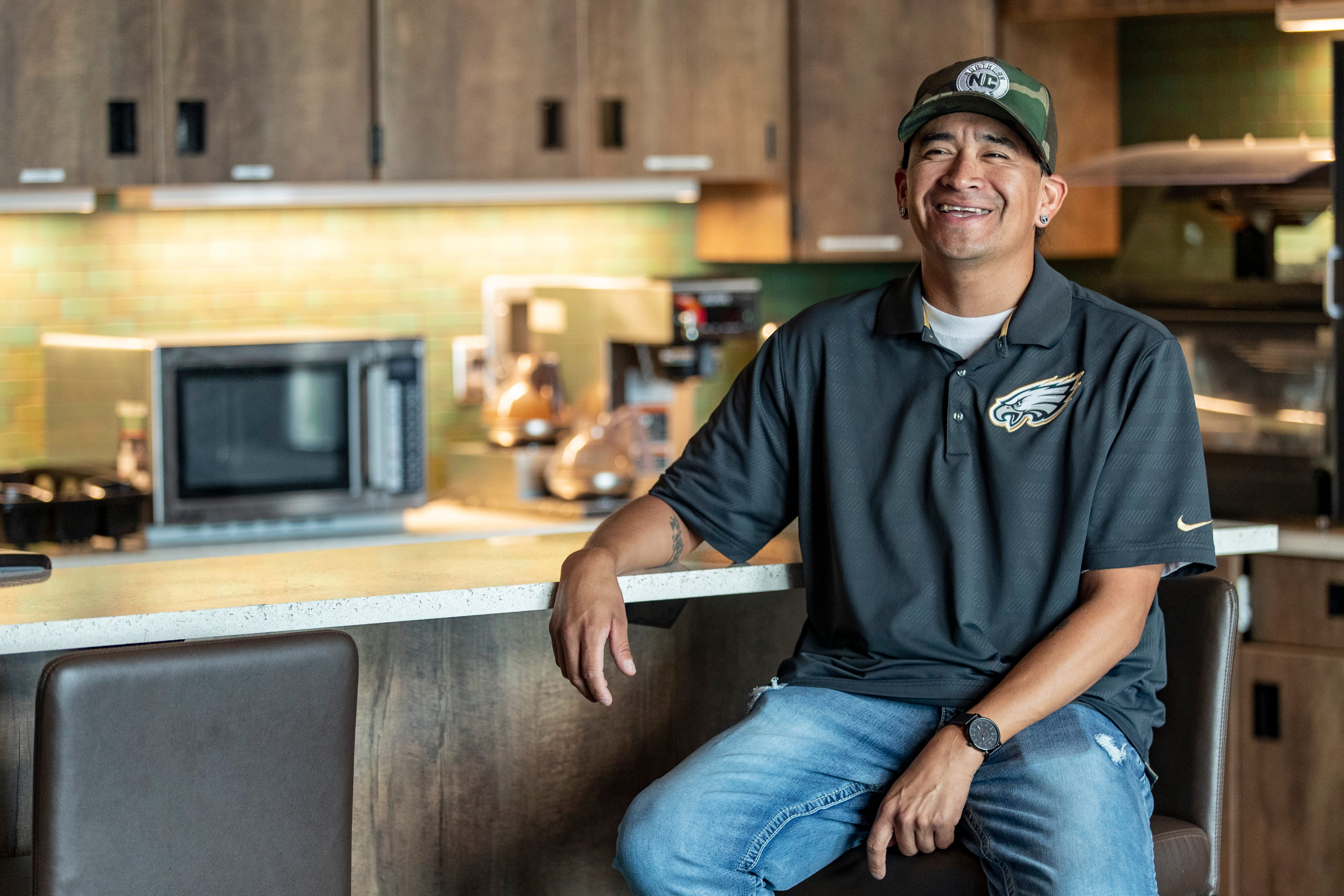 """Jazz nearly died twice from overdoses. Now, he is sober and is helping other Native Americans as the cultural specialist at the Bismarck recovery center. """"It's just giving back. I recently lost a family member around Christmas to fentanyl. The drug abuse here is spreading fast."""""""