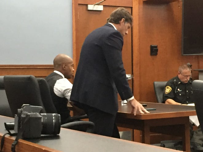 Defense attorney James Mayer III (standing) makes a point at Thursday's sentencing hearing for Elijah Finley.