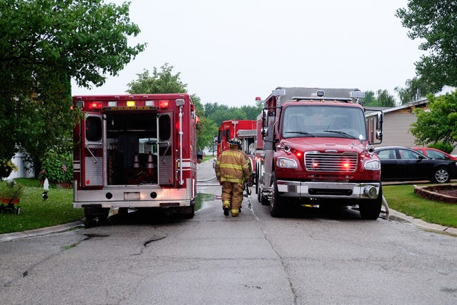 A Burtchville Township home was heavily damaged Thursday morning after a fire.