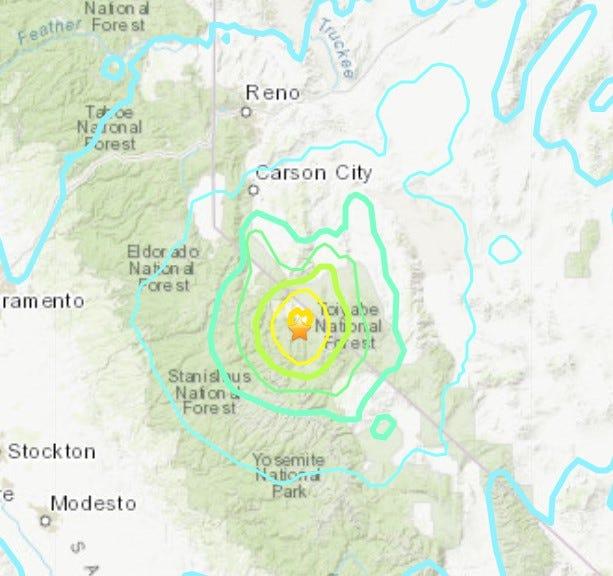 A magnitude 5.9 earthquake shook the Reno region Thursday.
