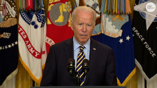 President Joe Biden addresses the plan to withdraw U.S. troops from Afghanistan by the end of August.