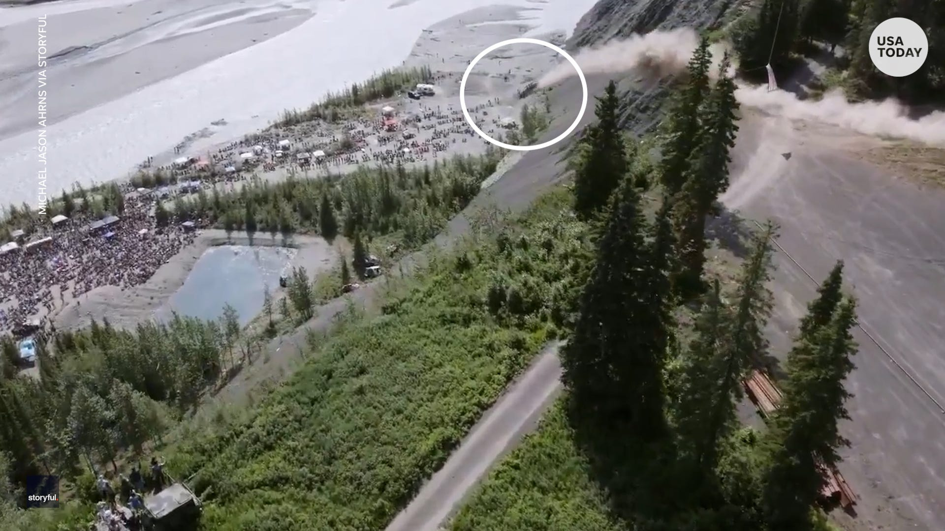 Launching cars off 300-foot cliff is an annual tradition in this small town