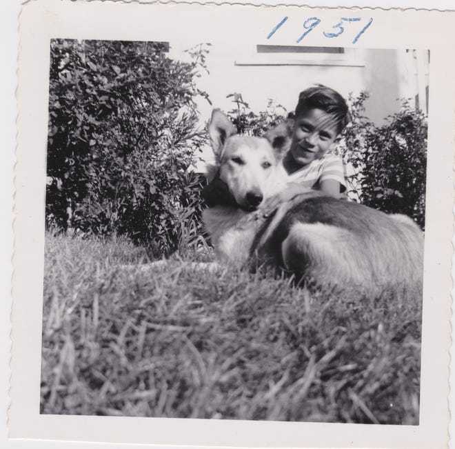 Danny Trejo with his dog Hoppy, taken by his mother Alice Trejo in 1951.