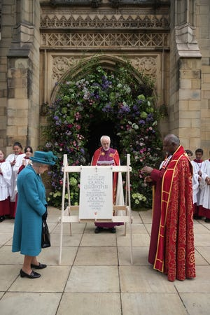 Queen Elizabeth II unveiled a plaque commemorating her visit to Manchester Cathedral on July 8, 2021 in Manchester, England.