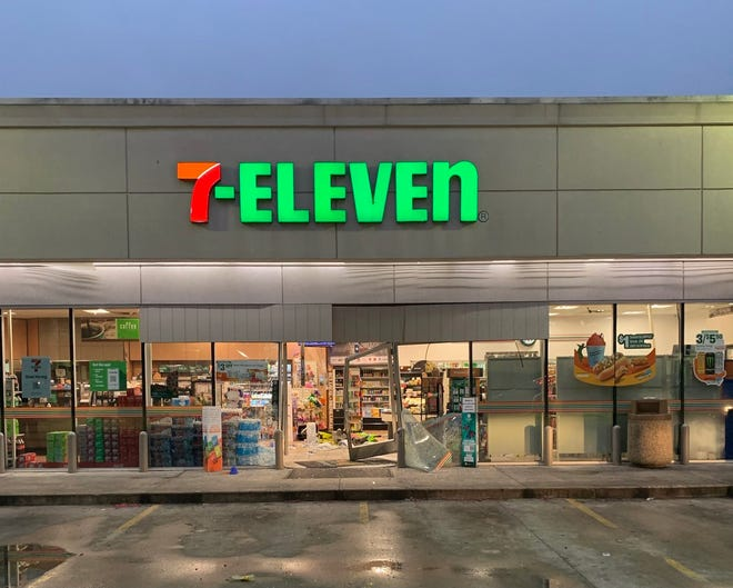 Round Rock police said they are searching for a man  who rammed into a 7-Eleven store at 2801 La Frontera Blvd. with an SUV on Friday morning.