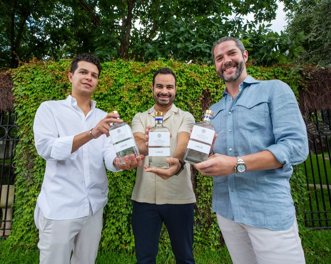 """The men behind new Lalo tequila, a top-shelf brand shared by Texas and Jalisco: David R. Carballido, from left, Eduardo """"Lalo"""" González and Jim McDermott at Hotel St. Cecilia."""