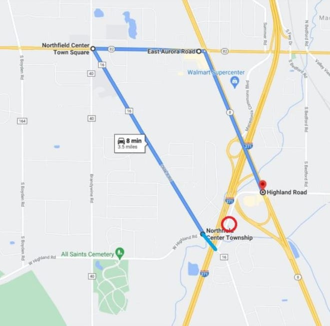 The detour around the Highland Road bridge construction site involves Routes 8 and 82, and Olde Eight Road.