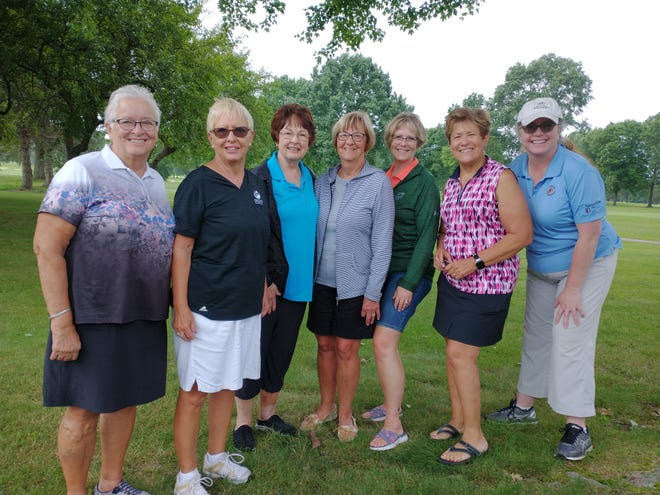 From left, Linda Anderson, Loretta Crosser, Kathy Stroia, Patty Hampu, Laura Yoder, Natalie Cooper and Christy Palfy at the Tannenhauf Women's Golf Association member-guest day.