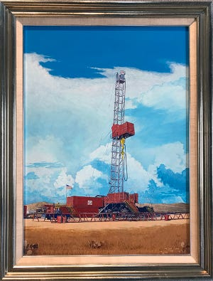 """Local artist Phleat Boyd's 1981 painting """"Oil Derrick"""" on display in the Jud Little fine art exhibit through Sept. 11th at The Goddard Center."""