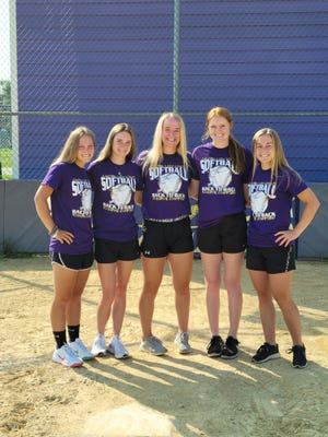Pictured from the left are Lady Giant Softball  players who received post season honors:Lexie Knowles, Jaiden Walters, Ellie Downing, Ella Dixon, Ella Wheeler