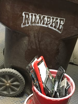 At Rumpke's sorting plant, optical scanners and other technology are used to help sort materials on conveyor belts, but batteries continue to pose safety hazards for the company.