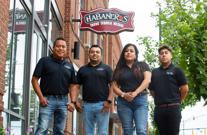 J.C. Hernandez, Javier Mijangos, Adriana Mijangos and Jhonny Cruz, co-owners of Habaneros restaurant,  outside their soon-to-be-opened new location at 1105 Yard St. in Columbus.
