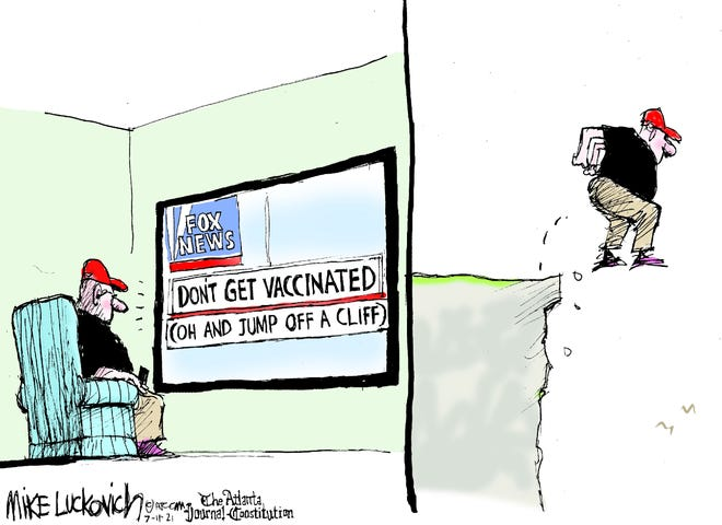 Mike Luckovich cartoon on vaccines and Fox