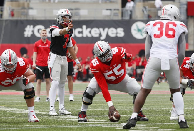 C.J. Stroud is believed to be the leader in the three-way quarterback competition, but coach Ryan Day has not indicated there is a favorite.