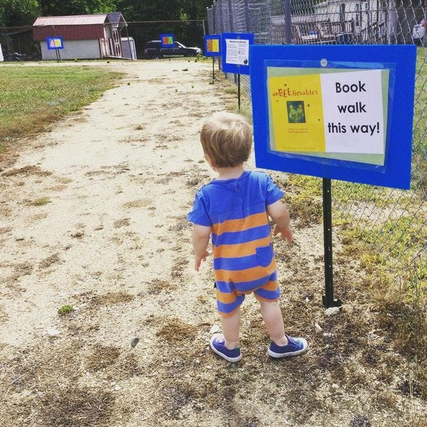 """Cassius Heindl is checking out the """"temporary"""" book walk at Paul Henry Park in Liberty."""