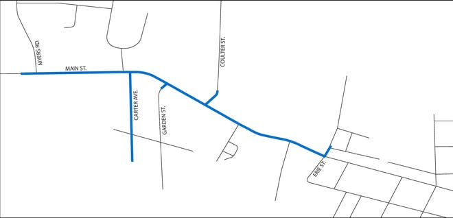 A diagram of gas lines slated for replacement in Creston.