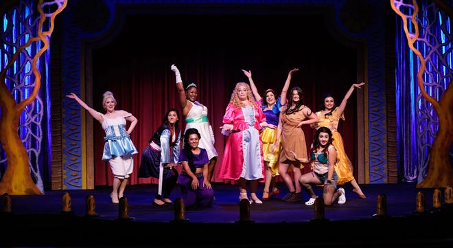 """Cast members of """"Disenchanted"""" at the Croswell Opera House are, standing from left to right, Sarah Pettee as Cinderella, Andraya Bunton as Mulan, Crystal Lynn Adams as The Princess Who Kissed a Frog, Jessica Dougherty as Sleeping Beauty and Rapunzel, Tallie Carter as Snow White, Gabrielle Blondin as Pocahontas, and Sydney Bramlett as Belle; and, seated, Marissa Gonzalez as Princess Badroulbadour and Riolana Doyle as the Little Mermaid."""