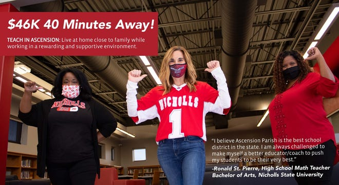Ascension Parish Schools won a national award for its teacher recruiting campaign targeting Nicholls State University students.