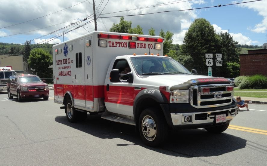 Tafton Fire Company Ambulance rides in the July 4, 2021 parade in Hawley.