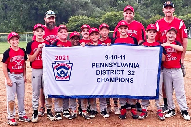 Members of the Wayne Highlands Little League 11U All-Star Team are all smiles after capturing the circuit's first-ever District 32 championship. Wayne Highlands swept Wallenpaupack 2-0 in the best-of-three series played at Carlton Drake Memorial Park in Newfoundland. The team is coached by Brandon Flynn, Jay Montgomery and Bryan Tierney. Players are: Sam Tierney, Wils McElroy, Isaac Flynn, Gavin White, Max Labruno, Alex Eisele, Jack Montgomery, Connor Marks, Keegan Pender, Connor Scanlon, Brayden Maciejewski.
