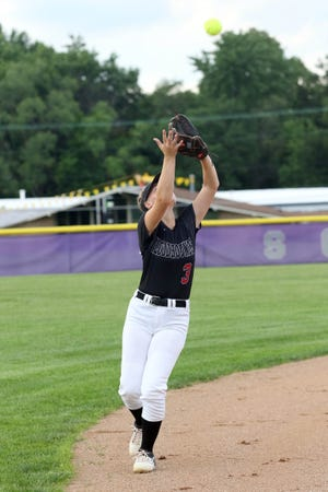 Fort Madison shortstop Kylee Cashman catches a popup fly against the Grayhounds in a Class 4A regional quarterfinal Thursday at Wagner Field in Burlington.