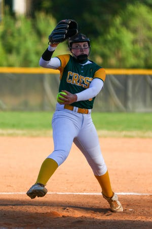 Crest's Mackenzie Hayes prepares to deliver toward home plate during her team's game with North Gaston earlier this spring.