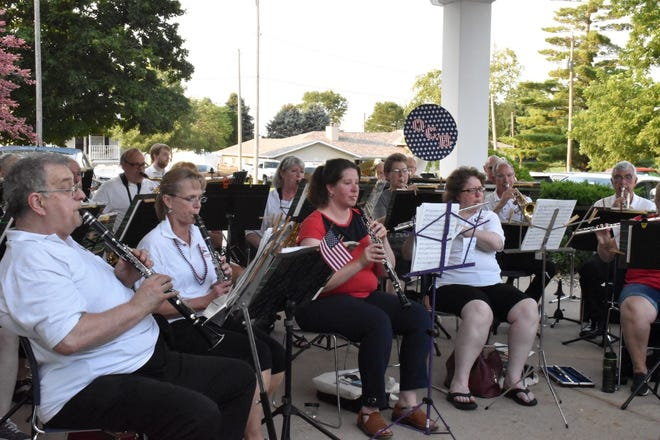 """The Orion Community Band plays a medley of songs from """"The Music Man"""" during the pork chop dinner on Saturday, July 3, at St. Paul Lutheran Church, Orion."""