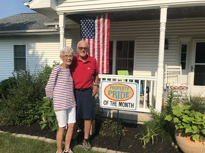 Mary and Cecil Duffy of 6 Southeast 8th Avenue received the July Property Pride award from the  Galva: Ready to Grow committee.  The couple built the home and move there in 2009.  They both enjoy gardening. Cecil commented, she points and I dig and plant. The couple have 2 grown children, 4 grandchildren and 3 great-grandchildren.