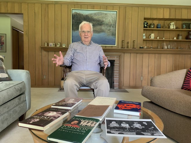 Lewis Gould, of Monmouth, is the recipient of an inaugural award recognizing distinguished contributions to research and education about America's first ladies.  He is pictured with several of his books.