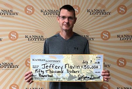Russell resident Jeffery Flavin won $50,000 in the Kansas Lottery.