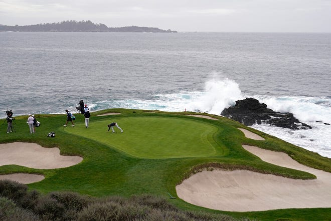 The 17th green of the Pebble Beach Golf Links