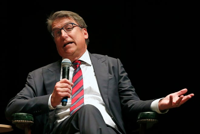 In this Jan. 16, 2020 photo, then-N.C. Gov. Pat McCrory speaks during a University of North Carolina Institute of Politics forum in Chapel Hill. McCrory on July 8, 2021 announced he raised more than $1.2 million in his first fundraising period since he entered the primary in April.  (AP Photo/Gerry Broome, File)