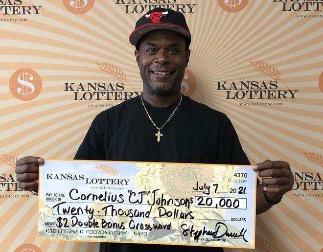 "Cornelius ""CJ"" Johnson won $20,000 from the Kansas Lottery"