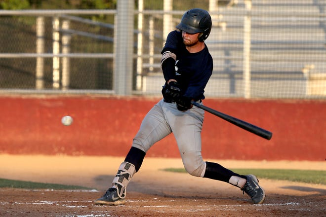 The Hutchinson Monarchs' Cole Cosman (8) bats against the 316 Sluggers during their game Thursday night at Hobart-Detter Field. The Monarchs defeated the 316 Sluggers 19-2. The Monarchs scored the second most runs in single game history, and tied for the third most hits, with 19 runs and 20 hits.