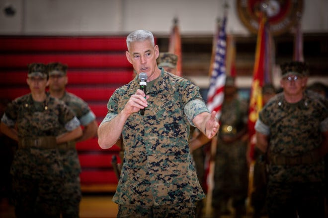 U.S. Marine Corps Lt. Gen. Brian Beaudreault, outgoing commanding general, II Marine Expeditionary Force, gives his remarks during the II MEF change of command ceremony at Camp Lejeune, July 8, 2021.