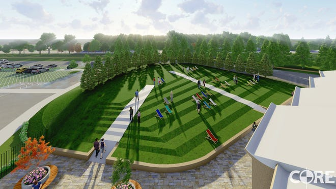 A tiered hillside in the Proposed Pavilion in the Park would provide a clear view of the stage.
