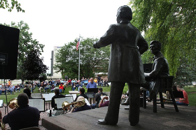 More than 100 people gathered to listen to the Highland Big Band on Thursday, July 8, 2021, at the Music at Debate Square in downtown Freeport. [JANE LETHLEAN/THE JOURNAL-STANDARD]