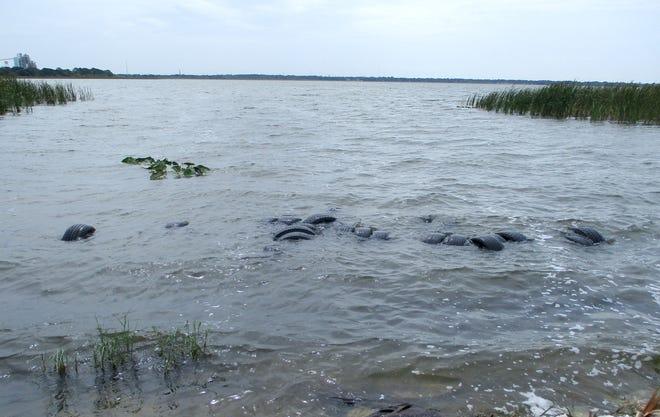 Tires dumped in Lake Parker