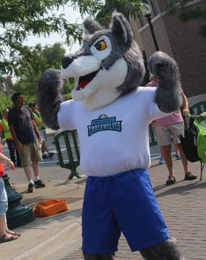 The North Central Michigan College Timberwolf was unveiled to the public during Petoskey's annual July 4 parade.