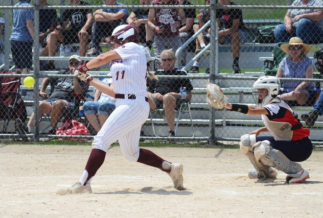 Charlevoix's Avery Zipp (left) and Boyne City's Maggee Behling (right) had some great battles over the season and each earned All-LMC.