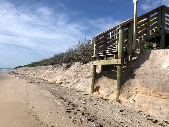 Palm Beach County said on Friday, July 9, 2021, that it has closed beach access points No. 46 and 47 in Jupiter because of significant sand erosion. This is the scene that morning at access point 47.