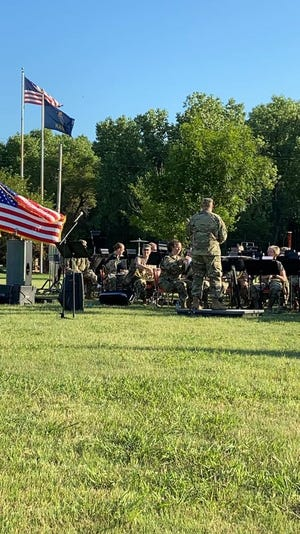 The 35th Division Army National Guard Band from Ft. Leavenworth presented a concert at the Pratt County Veterans Memorial Lake onJuly 3, courtesy of arrangements made by Eric Killough of the Pratt Public Library and jointly sponsored by the B-29 Museum and American Legion.