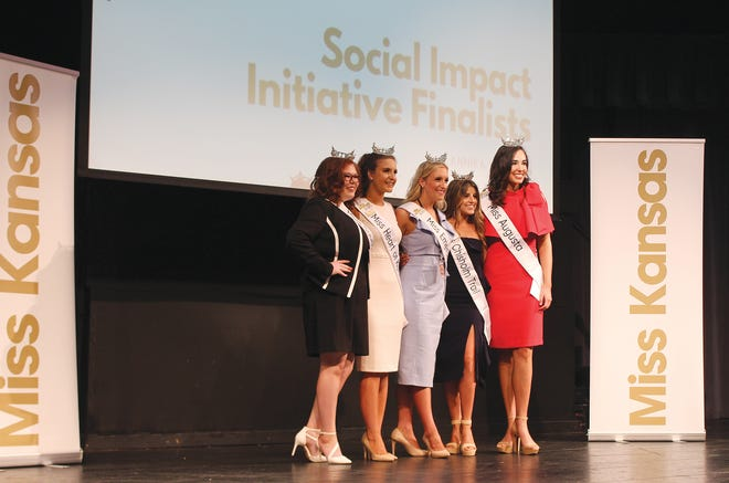 The top five Social Impact Initiative finalists for the 2021 Miss Kansas Competition were announced Wednesday morning at a welcome ceremony in Pratt. In order of announcement (from right) were Taylor Clark, Miss Augusta (from St. John), Candace Sweetwood, Miss Chisholm Trail (from Arkansas City), Courtney Wages, Miss Emerald City (from Wichita), Paige Harding, Miss Heart of Kansas (from Dodge City) and Sierra Marie Bonn (Miss Southwest (from El Dorado).