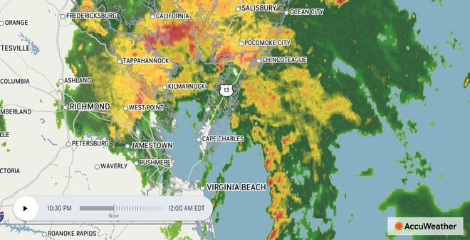 This image from AccuWeather shows Tropical Storm Elsa clearing the city of Petersburg as of 10:30 p.m. Thursday, July 8, 2021.