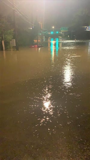 Petersburg resident Jacorey Jones posted this photo on his Facebook page of East Wythe Street flooded between Jefferson Street and Interstate 95.